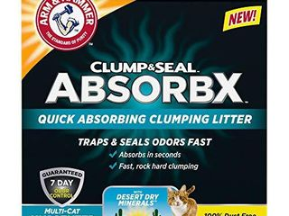 Arm   Hammer for Pets Clump   Seal AbsorbX Clumping litter  MultiCat Unscented 15 lb  Works like 30 Pounds  Gray  10033200002083