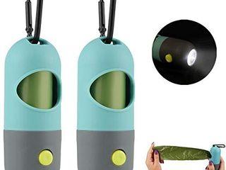 GABraden 2 Pack Dog Poop Waste Bag Holder Dispenser with lED Flashlight and 2 Rolls leak Proof Dog Poop Waste Bags and leash Clip for lead leash 2 Blue