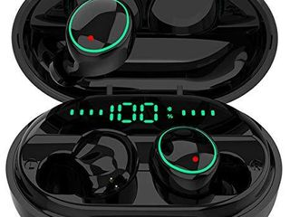 Bluetooth 5 0 Headphones Wireless Earbuds IPX8 Waterproof Stereo Earbuds with Microphone  lED Battery Display 120H Playtime  Noise Cancelling Headset with Charging Case for Sports