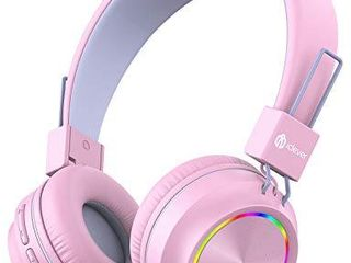 iClever BTH03 Kids Wireless Headphones  Colorful lED lights Kids Headphones with MIC  25H Playtime  Stereo Sound  Bluetooth 5 0  Foldable  Childrens Headphones on Ear for Study Tablet Airplane  Pink