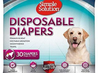 Simple Solution True Fit Disposable Dog Diapers for Female Dogs   Super Absorbent with Wetness Indicator