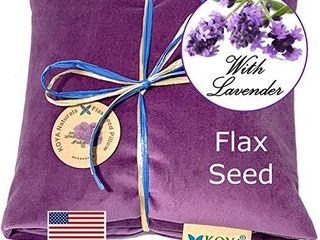 KOYA Naturals Soft Velvet Flax Seed Pillow with lavender   Heating Pad Microwavable Moist Heat Pack for Neck  Muscle  Joint  Stomach Pain  Menstrual Cramps Warm Neck Wrap  Purple  Scented
