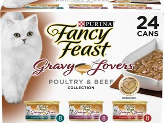 Purina Fancy Feast Gravy lovers Poultry   Beef Collection Gourmet Wet Cat Food   3oz 24ct Variety Pack