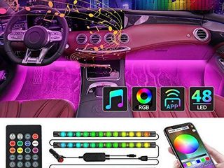 CT CAPETRONIX Interior Car lights  Car led Strip lights Interior with APP and IR Remote  Upgrade 2 in 1 4pcs Waterproof RGB 48 lEDs Music Car lED lights Under Dash lighting Kit with Car Charger DC 12V