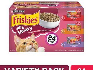 24 Pack  Friskies Gravy Wet Cat Food Variety Pack  Prime Filets Meaty Favorites  5 5 oz  Cans