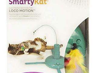 SmartyKat  loco Motion  Electronic Motion Cat Toy  Interactive Wand  With Feathers  Adjustable Speed  Battery Powered