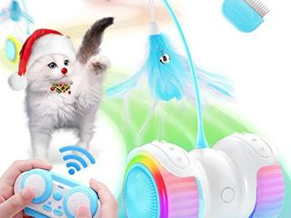 Biilaflor Interactive Cat Toys for Indoor Cats Robotic Cat Toy USB Charging  Automatic   RC Control  Colorful lights Cat Ball Toy with 6 Feather  Bells  Catnip  Electric Moving Cat Toy for Kitten Fun