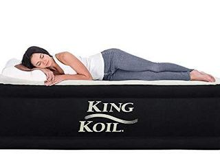 King Koil Twin Air Mattress with Built in Pump   Double High Elevated Raised Airbed for Guests with Comfortable Top ONlY Bed with 1 Year Manufacturer Guarantee Included
