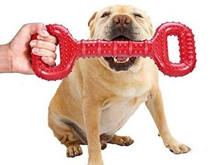 Feeko Dog Toys for Aggressive Chewers large Breed 15 Inch Interactive Bone  Durable Indestructible Dog Toys with Convex Design  Natural Rubber Tug of war Toy for Extral large Dogs  Red