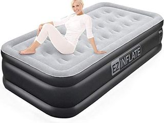 EZ INFlATE Double High luxury Twin Air Mattress with Built in Pump  Inflatable Mattress  Twin airbed with Flocked top  All Purpose Twin Blow up Bed  Home Camping Travel with a 2 Year Warranty
