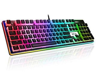 RedThunder Mechanical Gaming Keyboard  PBT Pudding Keycaps  RGB Backlit and Surround llighting  Red Switches  Ultra Slim Quiet Ergonomic Water Resistant USB Wired Keyboard for Desktop  Computer  PC