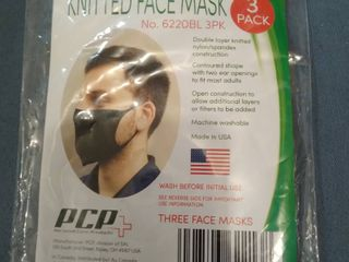 Personal Care Products Knitted Face Masks 3 pack Black