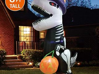 Joiedomi Halloween 8 FT Inflatable Skeleton Dinosaur with Build in lEDs Blow Up Inflatables for Halloween Party Indoor  Outdoor  Yard  Garden  lawn Decorations