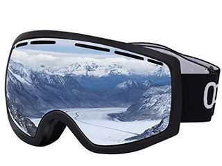 Occffy Ski Goggles Snowboard Sports OTG Goggles  UV Protection Skiing Goggles with Anti Fog for Mens Womens Youth Helmet Compatible HX001  HX001 Black Matte Frame with Silver lens VlT11