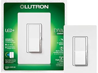 lutron Diva lED  Dimmer for Dimmable lED  Halogen and Incandescent Bulbs with Wallplate   Single Pole or 3 Way   DVWCl 153PH WH   White