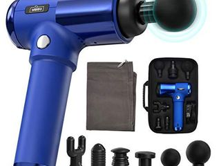 Massage Gun Deep Tissue Percussion Muscle Massager  Relieves Soreness and Stiffness  Handheld Cordless Portable Electric Fascia Gun for Athletes   4 Speeds 6 Heads  Blue