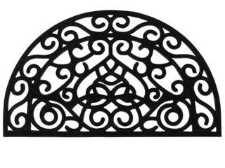 DirtOff Iron Cutout Pins Slice Semi Circle Black Elanji Rubber Doormat