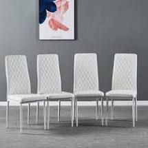 Creamy White faux leather chair set of 4