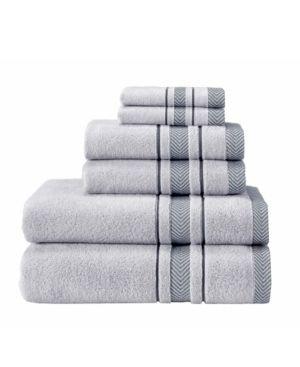 Enchasoft Turkish Cotton 6 Piece Towel Set silver