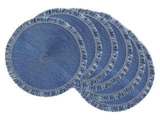 DII Nautical Blue Round Fringed Placemat Set 6