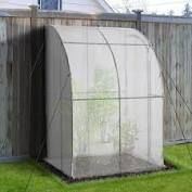 Outsunny Outdoor Walk In Tunnel Gardening Greenhouse with Zippered Doors Strong Reinforced PE Cover White