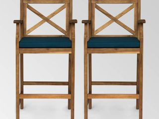 Perla Outdoor Acacia Wood Barstool by Christopher Knight Home  Set of 2  Retail 279 49 blue