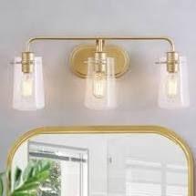 3 light Gold Modern   Mid Century Bathroom Vanity lights Wall Sconces for Powder Room   l 22 5 x W 5 5 x H 9  Retail 114 99