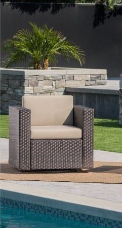 Puerta Outdoor Wicker Swivel Club Chair with Cushions 1 only by Christopher Knight