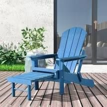 Hurley Folding Poly Plastic Adirondack Chair with Pull out Ottoman  Retail 309 99