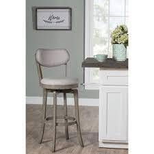 The Gray Barn Chatterly Aged Grey Wood Upholstered Swivel Counter height Stool 1 only 20 W x 17 375 l x 38 25 H  Retail 144 49 dark chestnut brown with antique brown fabric
