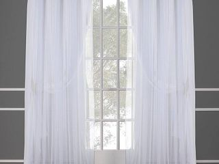 Set of 2 63 x52  Caterina layered Solid Blackout With Sheer Top Curtain Panels White   Exclusive Home