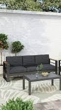 Giovanna Outdoor Aluminum 3 Seater Sofa with Water Resistant Cushions by Christopher Knight Home  Retail 735 99 black natural dark gray
