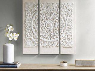 Set of 3  35 5  Height Wooden Mandala 3D Embellished Canvas Decorative Wall Art Set White