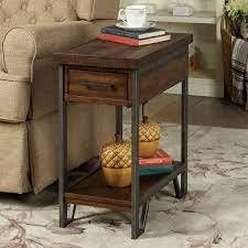 Furniture of America Quif Rustic Oak Wood Narrow USB Charging Table  Retail 194 99
