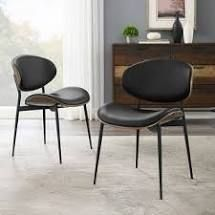 art leon mid century Brentwood accent upholstery dining chairs Set of 2   Black  Retail 278 99