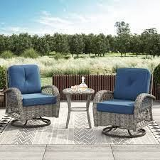 corvus livorno outdoor 3 pc wicker chat set Blue  Retail 542 49