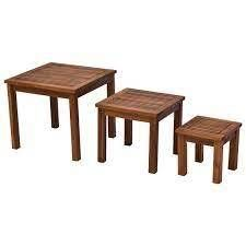 Outsunny 3 Piece Outdoor Side Nesting Table Patio Set with Acacia Wood Build   Multi Functional Design  Retail 113 99 natural