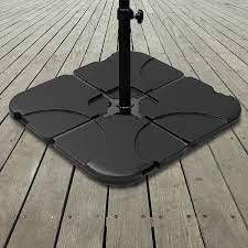 Pure Garden 220 Pound Capacity  4 Piece Fillable Weighted Cantilever and Offset Umbrella Base with Handle   Retail 89 00