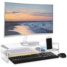 Premium Acrylic Monitor Stand  Monitor Riser with 2 Compartments clear