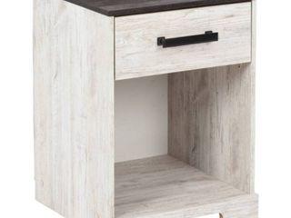 Shawburn White Dark Charcoal Gray One Drawer Nightstand