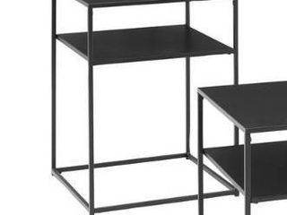 Braxton Crosley side table matte black metal and steel 1 only