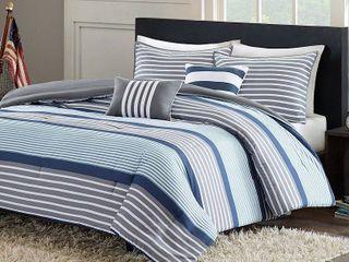 Intelligent Design Matteo 5 piece Blue Comforter Set queen