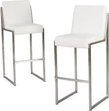 white Pheather with crome legs bar chairs set of 2 no hardware