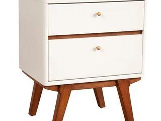 Alpine Furniture Dakota Two Drawer Wood Nightstand in White  Retail 227 09