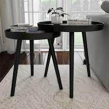 Carson Carrington Fagelsang Circular Mid Century Wood Nesting End Tables  Retail 105 99 black