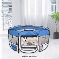 36  Portable Foldable 600D Oxford Cloth   Mesh Pet Playpen Fence with Eight Panels