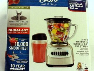 Oster Classic Series Blender with Travel Smoothie Cup   Chrome
