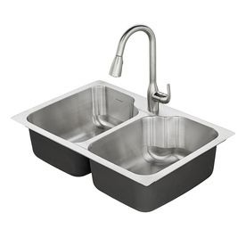 American Standard Tulsa 33 in x 22 in Stainless Steel Double Basin Drop in or Undermount 1 Hole Residential Kitchen Sink All In One Kit