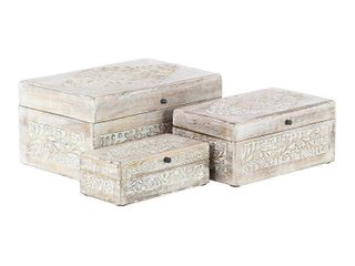 Studio 350 Rustic Storage Chests w  lids 3 PACK