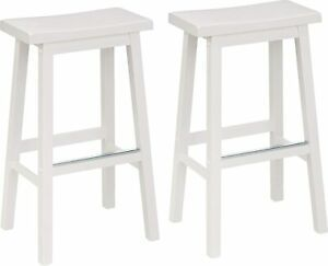 AmazonBasics Classic Wood Saddle Seat Counter Stools SET OF 2